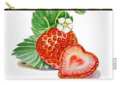 Artz Vitamins A Strawberry Heart Carry-all Pouch by Irina Sztukowski