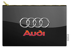 Audi 3 D Badge On Black Carry-all Pouch by Serge Averbukh