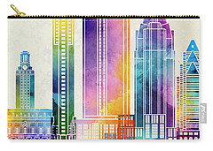 Austin Landmarks Watercolor Poster Carry-all Pouch by Pablo Romero
