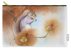 Autumn Come Softly Squirrel Carry-all Pouch by Tracy Herrmann
