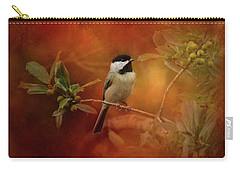Autumn Day Chickadee Bird Art Carry-all Pouch by Jai Johnson