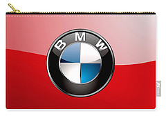 B M W Badge On Red  Carry-all Pouch by Serge Averbukh