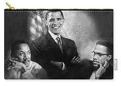 Barack Obama Martin Luther King Jr And Malcolm X Carry-all Pouch by Ylli Haruni