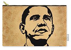 Barack Obama Original Coffee Painting Carry-all Pouch by Georgeta  Blanaru