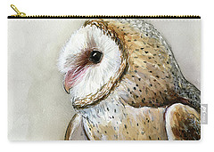 Barn Owl Watercolor Carry-all Pouch by Olga Shvartsur
