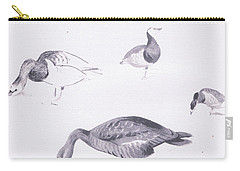 Barnacle And White Fronted Geese Carry-all Pouch by Archibald Thorburn