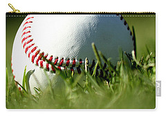 Baseball In Grass Carry-all Pouch by Chris Brannen