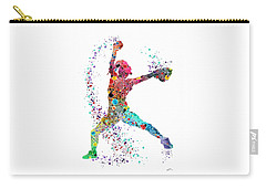 Baseball Softball Pitcher Watercolor Print Carry-all Pouch by Svetla Tancheva