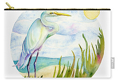 Beach Heron Carry-all Pouch by Amy Kirkpatrick