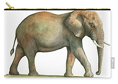 Big African Male Elephant Carry-all Pouch by Juan Bosco