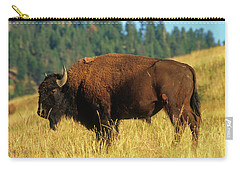 Bison Bull In The Late Evening Magic Light Carry-all Pouch by Jerry Voss