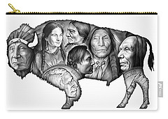 Bison Indian Montage Carry-all Pouch by Greg Joens