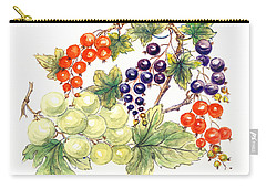 Black And Red Currants With Green Grapes Carry-all Pouch by Nell Hill