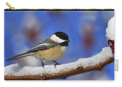 Black-capped Chickadee In Sumac Carry-all Pouch by Tony Beck