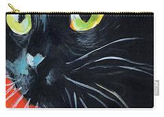 Black Cat Painting Portrait Carry-all Pouch by Svetlana Novikova
