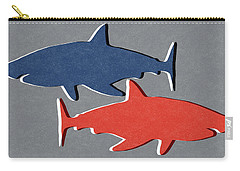 Blue And Red Sharks Carry-all Pouch by Linda Woods