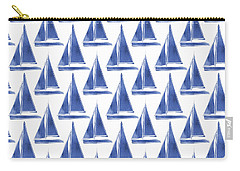Blue And White Sailboats Pattern- Art By Linda Woods Carry-all Pouch by Linda Woods