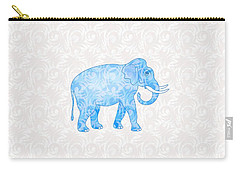 Blue Damask Elephant Carry-all Pouch by Antique Images