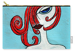 Blue Eyed Redhead In Green Dress Carry-all Pouch by Genevieve Esson