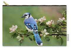 Blue Jay And Blossoms Carry-all Pouch by Lori Deiter