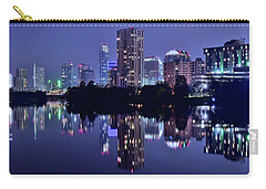 Blue Night Lights In Austin Carry-all Pouch by Frozen in Time Fine Art Photography