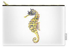 Blue Yellow Seahorse - Square Carry-all Pouch by Amy Kirkpatrick