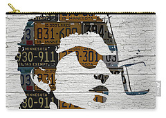 Bob Dylan Minnesota Native Recycled Vintage License Plate Portrait On White Wood Carry-all Pouch by Design Turnpike
