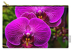 Bright Purple Orchids Carry-all Pouch by Garry Gay