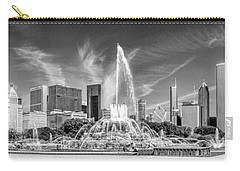 Buckingham Fountain Skyline Panorama Black And White Carry-all Pouch by Christopher Arndt