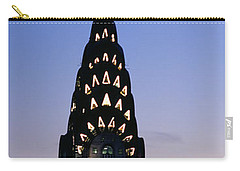 Building Lit Up At Twilight, Chrysler Carry-all Pouch by Panoramic Images