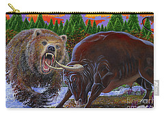 Bull And Bear Carry-all Pouch by Carey Chen