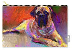 Bullmastiff Dog Painting Carry-all Pouch by Svetlana Novikova