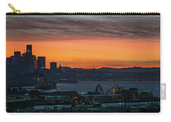 Burning Seattle Skyline Sunrise Panorama Carry-all Pouch by Mike Reid