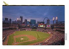 Busch Stadium St. Louis Cardinals Ball Park Village Twilight #3c Carry-all Pouch by David Haskett