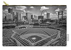 Busch Stadium St. Louis Cardinals Black White Ballpark Village Carry-all Pouch by David Haskett