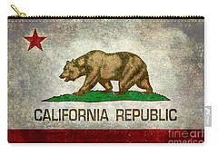 California Republic State Flag Retro Style Carry-all Pouch by Bruce Stanfield