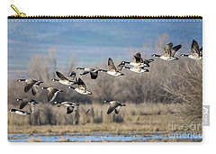 Canada  Geese Flock Carry-all Pouch by Mike Dawson