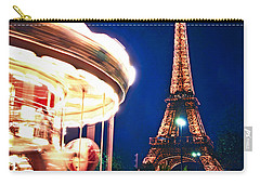 Carousel And Eiffel Tower Carry-all Pouch by Elena Elisseeva