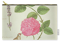 Centifolia Rose, Lavender, Tortoiseshell Butterfly, Goldfinch And Crested Pigeon Carry-all Pouch by Nicolas Robert