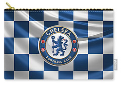 Chelsea F C - 3 D Badge Over Flag Carry-all Pouch by Serge Averbukh