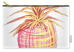 Chic Pink Metallic Gold Pineapple Fruit Wall Art Aroon Melane 2015 Collection By Madart Carry-all Pouch by Megan Duncanson