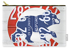 Chicago Cubs Retro Vintage Baseball Logo License Plate Art Carry-all Pouch by Design Turnpike