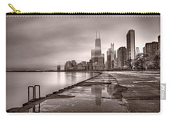 Chicago Foggy Lakefront Bw Carry-all Pouch by Steve Gadomski