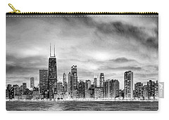 Chicago Gotham City Skyline Black And White Panorama Carry-all Pouch by Christopher Arndt