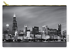 Chicago Skyline At Night Black And White  Carry-all Pouch by Adam Romanowicz