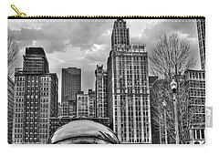 Chicago Skyline In Black And White Carry-all Pouch by Tammy Wetzel