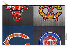 Chicago Sports Fan Recycled Vintage Illinois License Plate Art Bulls Blackhawks Bears And Cubs Carry-all Pouch by Design Turnpike