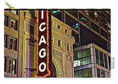 Chicago Theater Aglow Carry-all Pouch by Frozen in Time Fine Art Photography