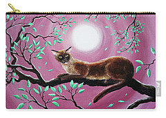 Chocolate Burmese Cat In Dancing Leaves Carry-all Pouch by Laura Iverson