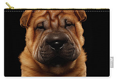 Closeup Funny Sharpei Puppy Isolated On Black Carry-all Pouch by Sergey Taran